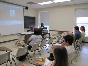 2012 History of South Africa student prepare to Skype with Omar Badsha